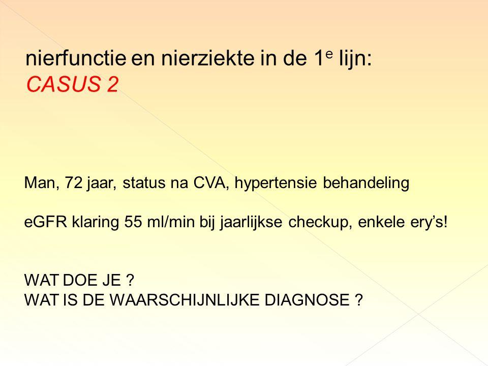 nierfunctie en nierziekte in de 1e lijn: CASUS 2