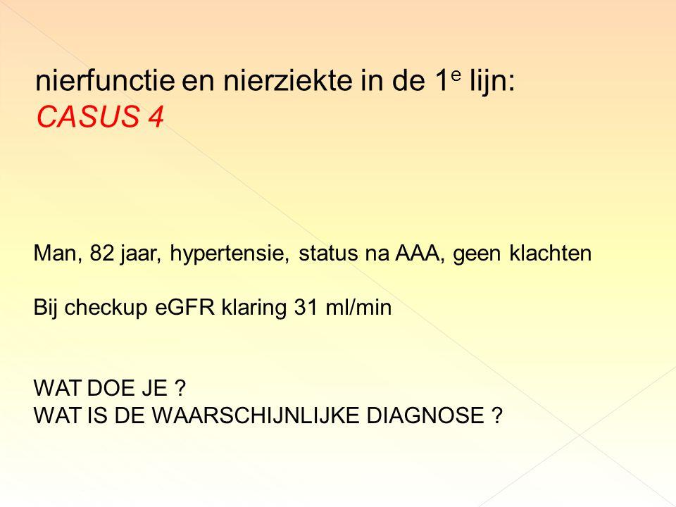 nierfunctie en nierziekte in de 1e lijn: CASUS 4
