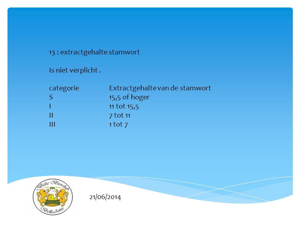 13 : extractgehalte stamwort