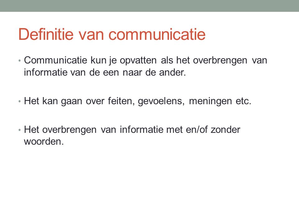 Definitie van communicatie