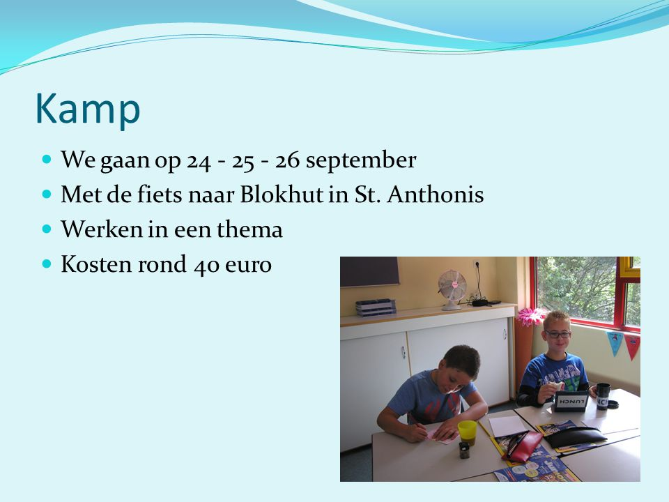 Kamp We gaan op 24 - 25 - 26 september