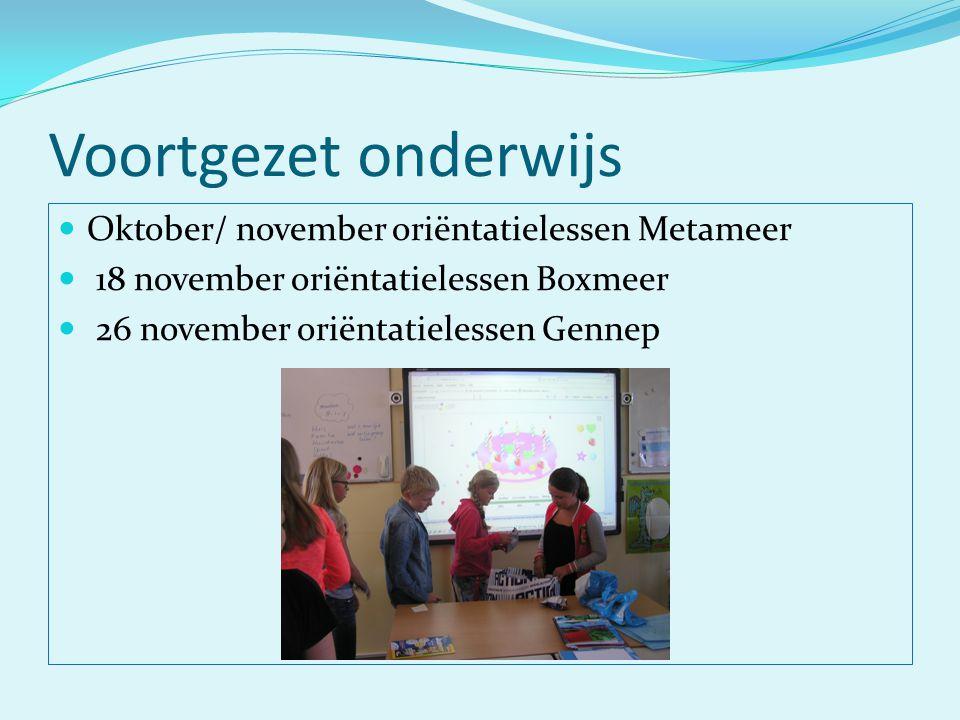 Voortgezet onderwijs Oktober/ november oriëntatielessen Metameer