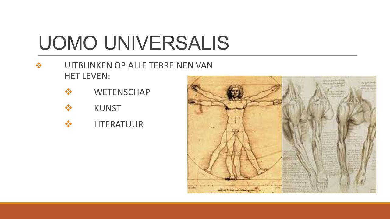 UOMO UNIVERSALIS WETENSCHAP KUNST LITERATUUR