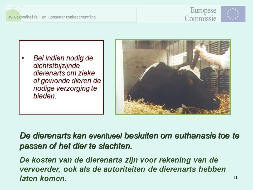 Bel indien nodig de dichtstbijzijnde dierenarts om zieke of gewonde dieren de nodige verzorging te bieden.