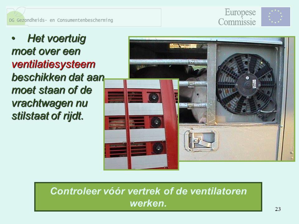 Controleer vóór vertrek of de ventilatoren werken.