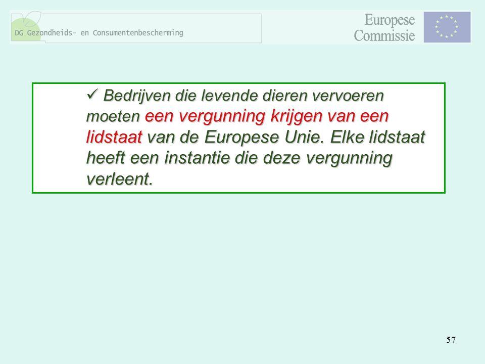 Bedrijven die levende dieren vervoeren moeten een vergunning krijgen van een lidstaat van de Europese Unie.