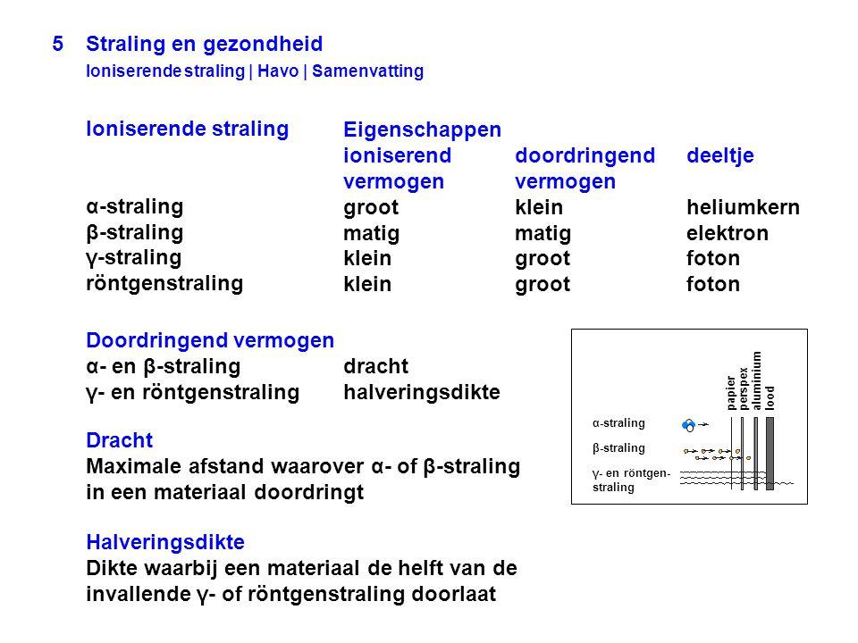 5 Straling en gezondheid Ioniserende straling | Havo | Samenvatting