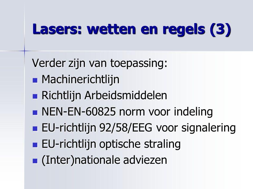 Lasers: wetten en regels (3)