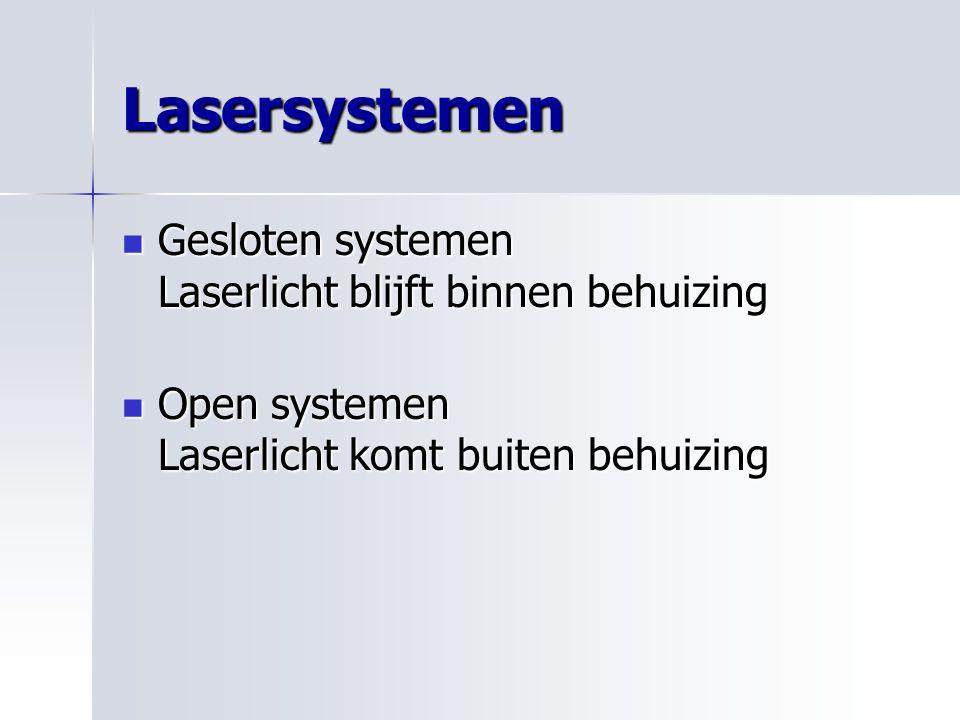 Lasersystemen Gesloten systemen Laserlicht blijft binnen behuizing