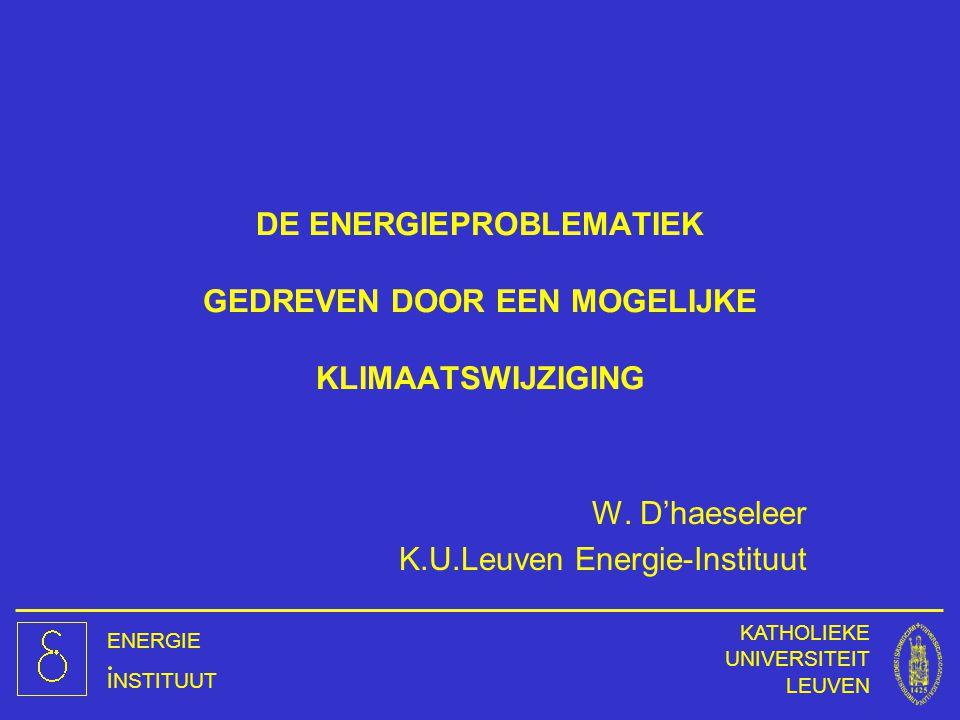DE ENERGIEPROBLEMATIEK GEDREVEN DOOR EEN MOGELIJKE KLIMAATSWIJZIGING