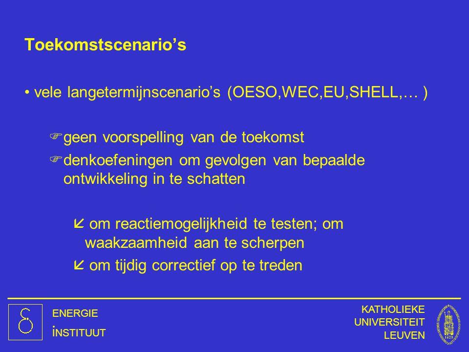 Toekomstscenario's vele langetermijnscenario's (OESO,WEC,EU,SHELL,… )