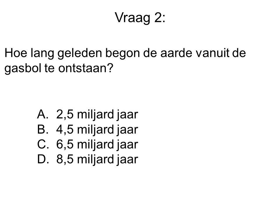 Vraag 2: Hoe lang geleden begon de aarde vanuit de gasbol te ontstaan