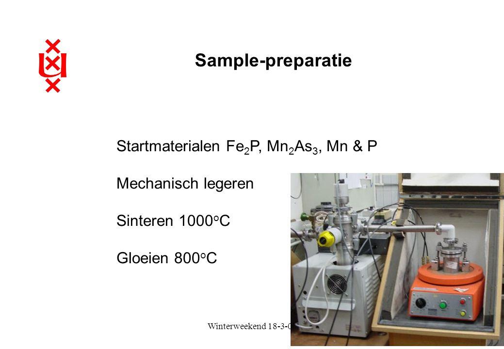Sample-preparatie Startmaterialen Fe2P, Mn2As3, Mn & P