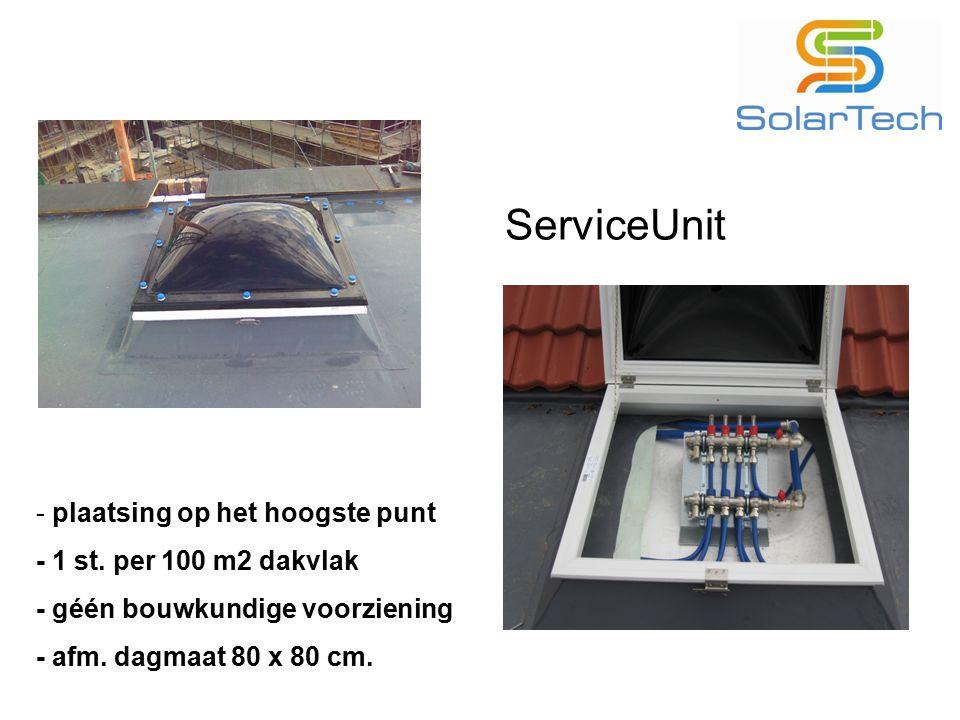 ServiceUnit - plaatsing op het hoogste punt - 1 st. per 100 m2 dakvlak