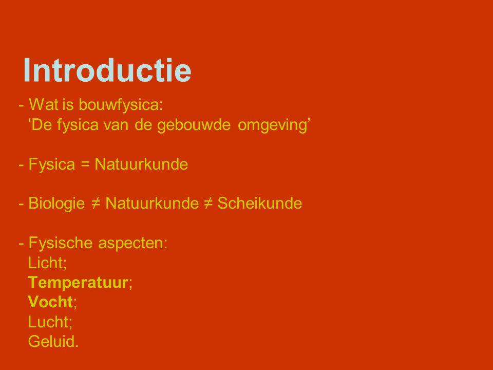 Introductie Wat is bouwfysica: 'De fysica van de gebouwde omgeving'