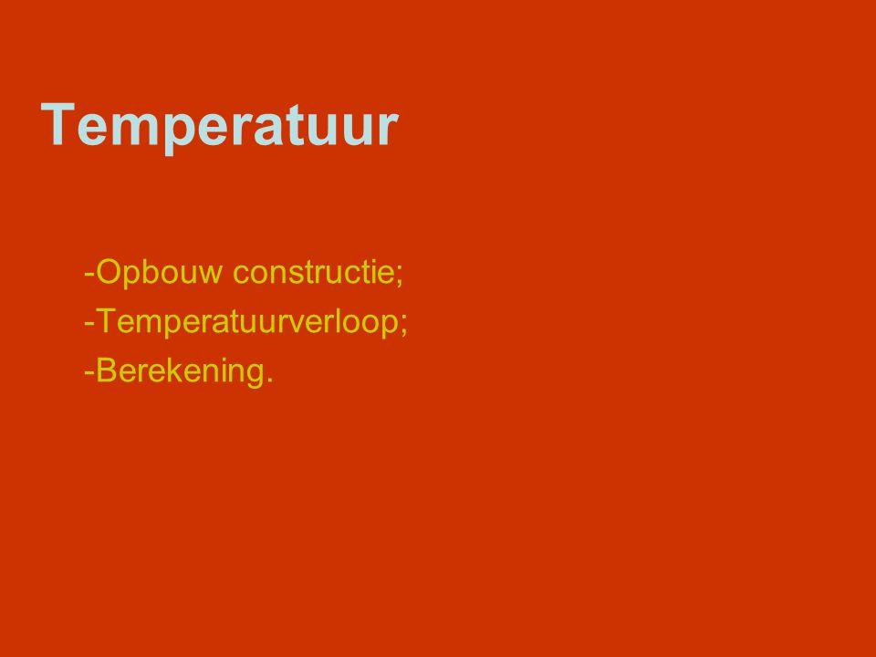 Opbouw constructie; Temperatuurverloop; Berekening.