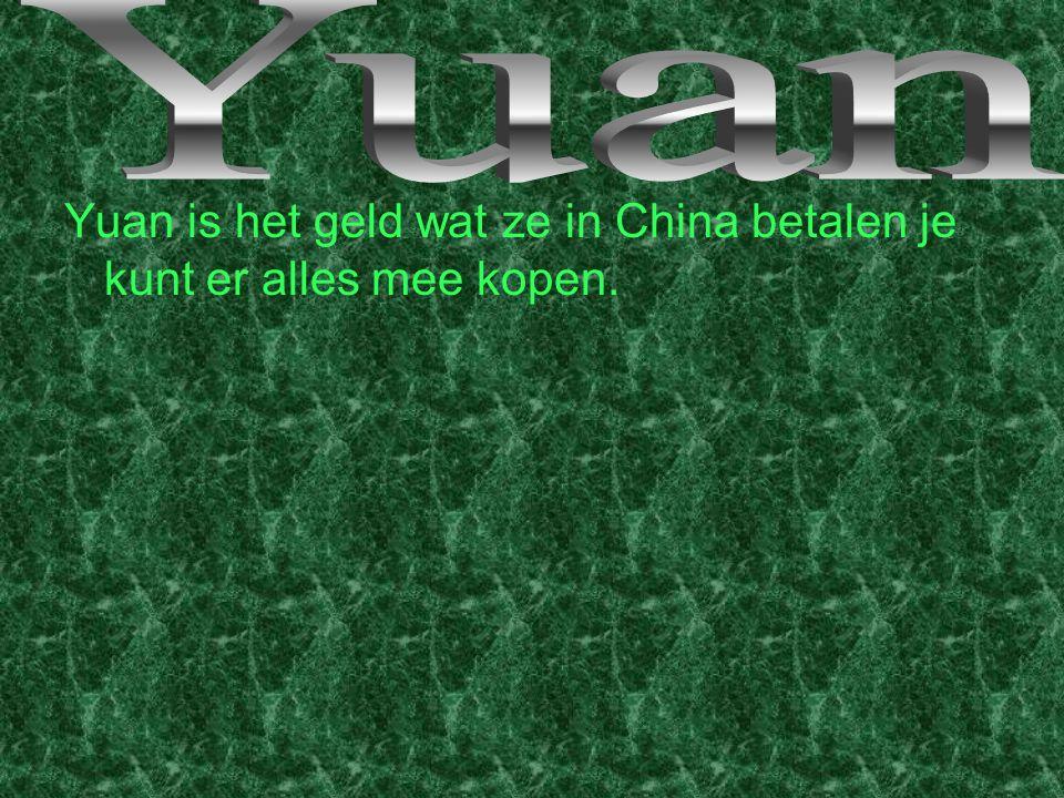 Yuan Yuan is het geld wat ze in China betalen je kunt er alles mee kopen.