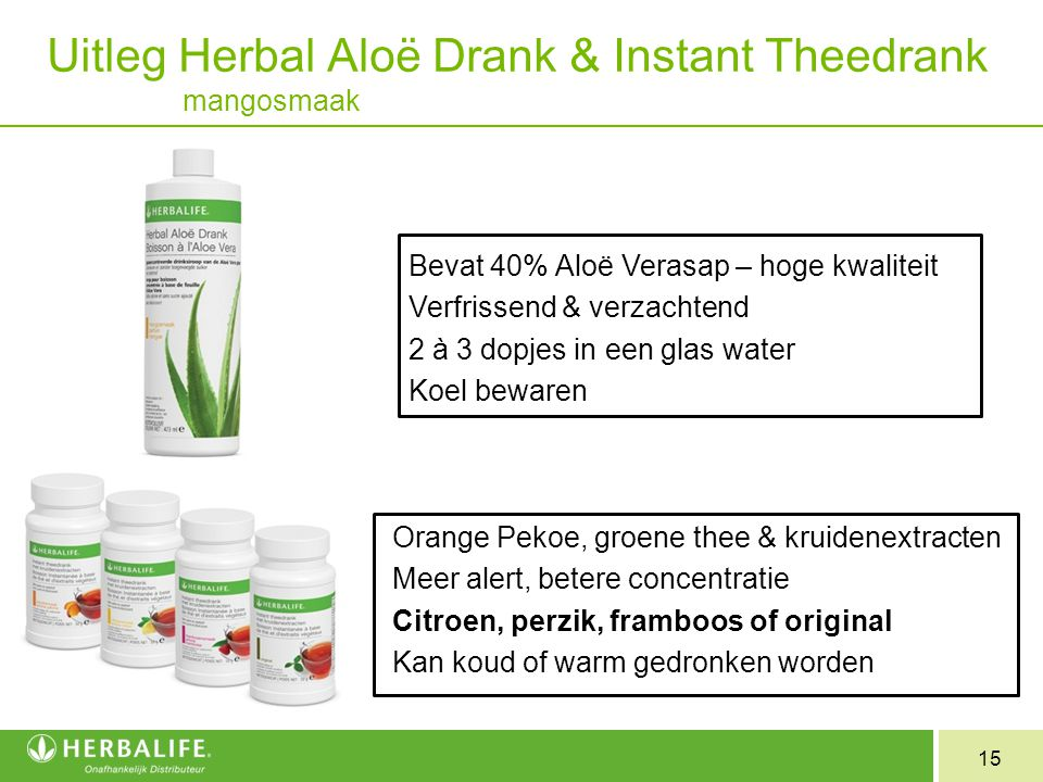 Uitleg Herbal Aloë Drank & Instant Theedrank