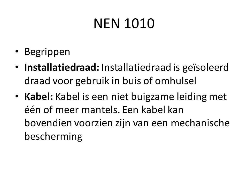 NEN 1010 Begrippen. Installatiedraad: Installatiedraad is geïsoleerd draad voor gebruik in buis of omhulsel.