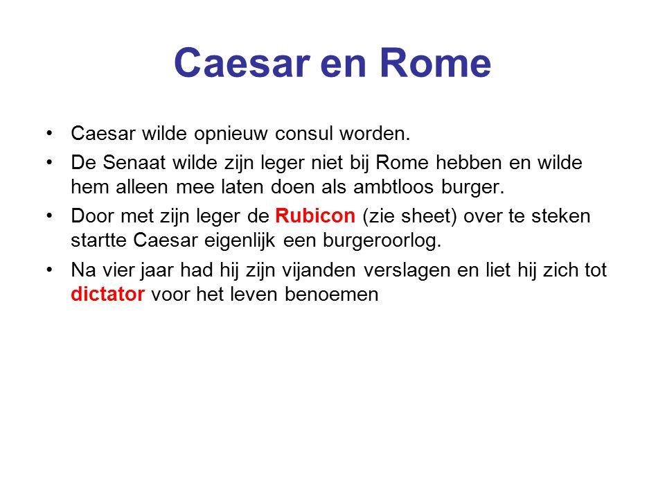 Caesar en Rome Caesar wilde opnieuw consul worden.