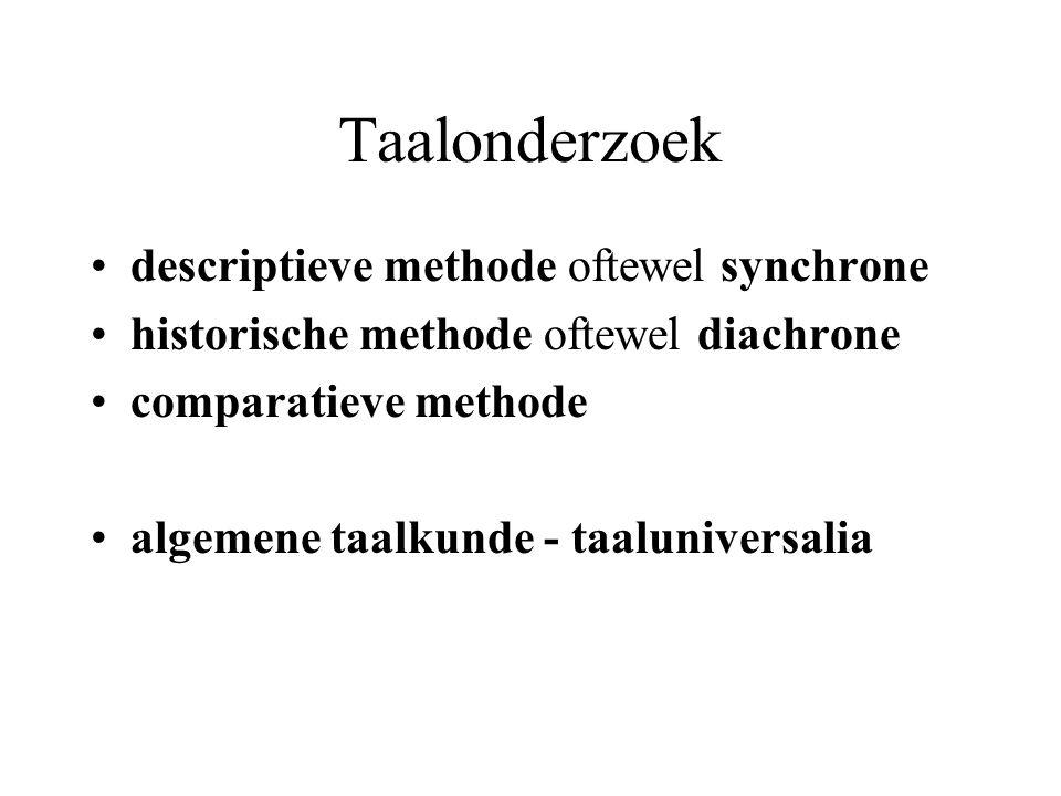 Taalonderzoek descriptieve methode oftewel synchrone