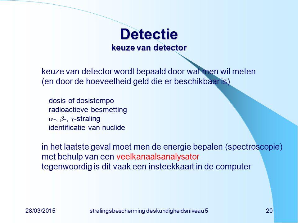 Detectie keuze van detector