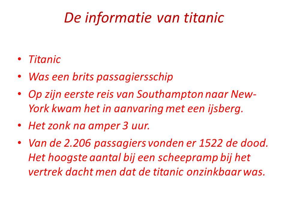 De informatie van titanic