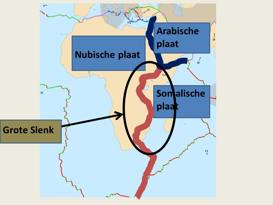 Arabische plaat Nubische plaat Somalische plaat Grote Slenk