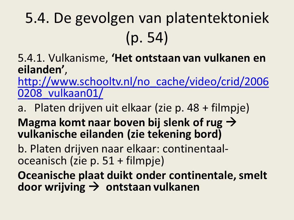 5.4. De gevolgen van platentektoniek (p. 54)