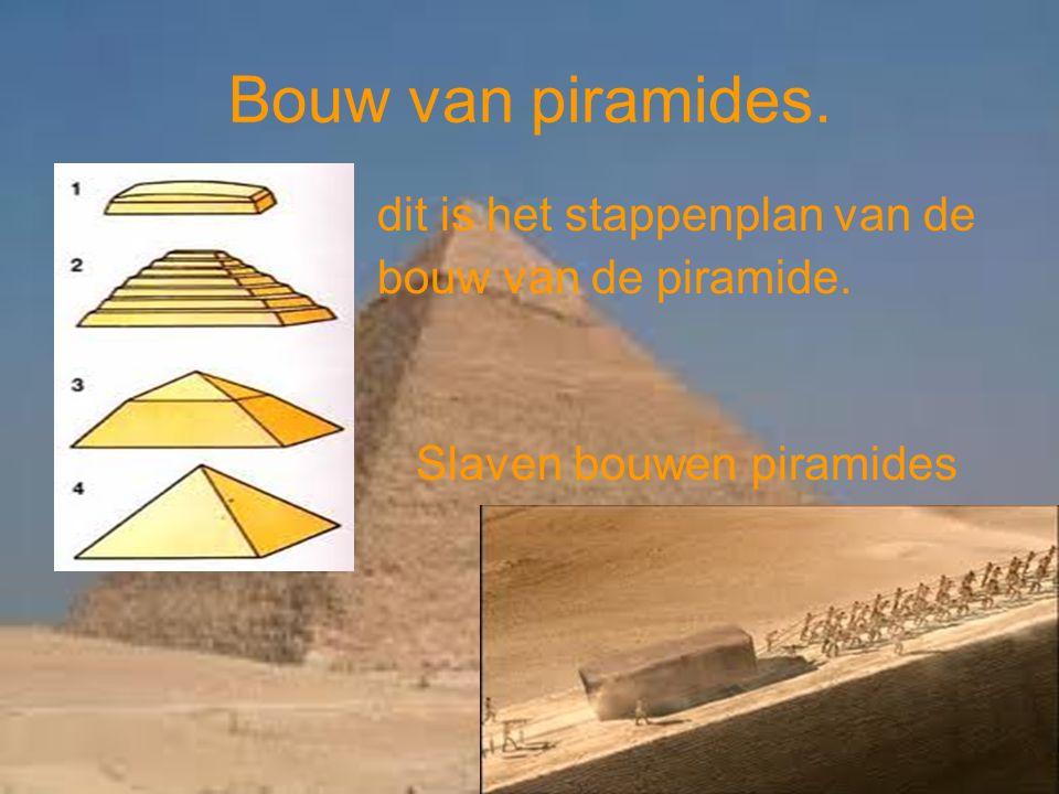 Bouw van piramides. dit is het stappenplan van de