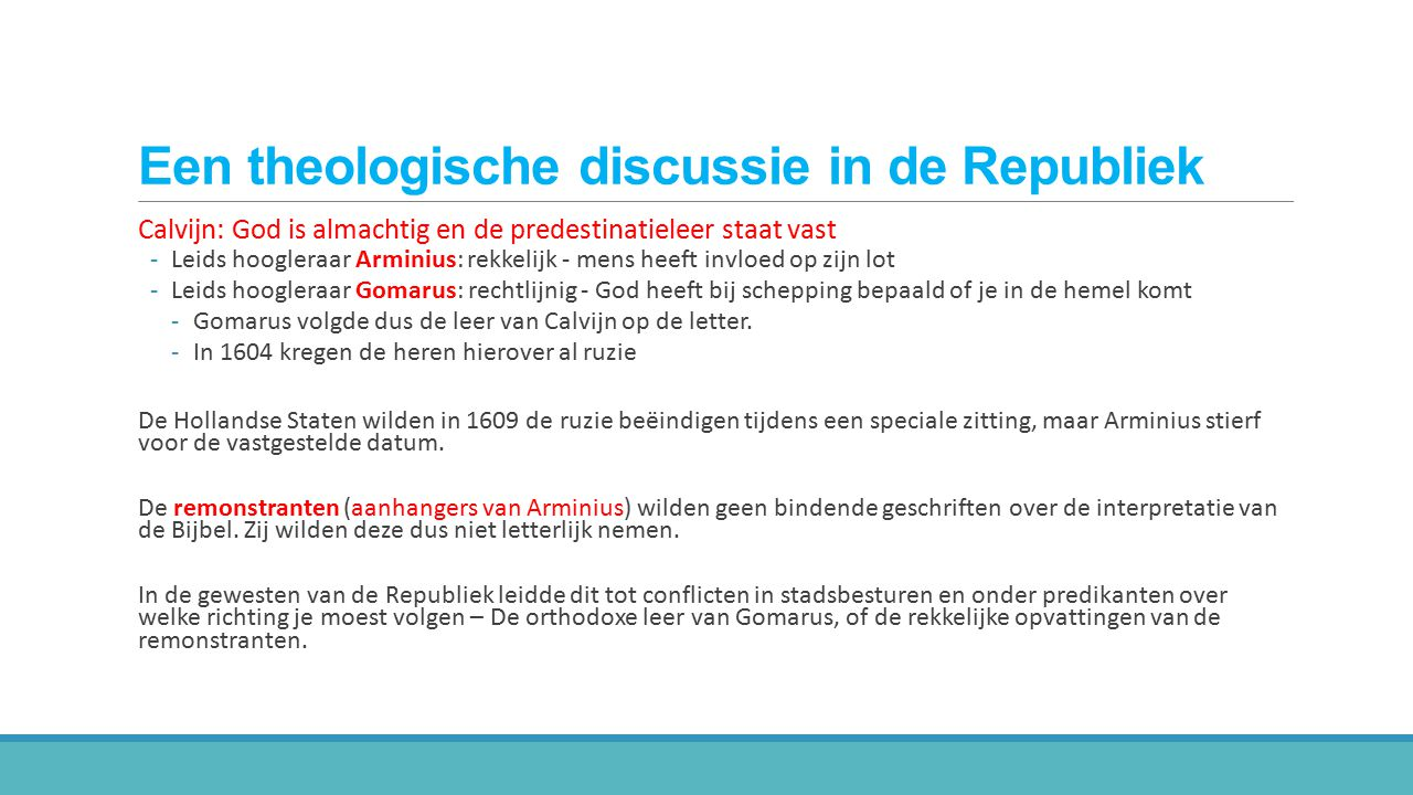 Een theologische discussie in de Republiek
