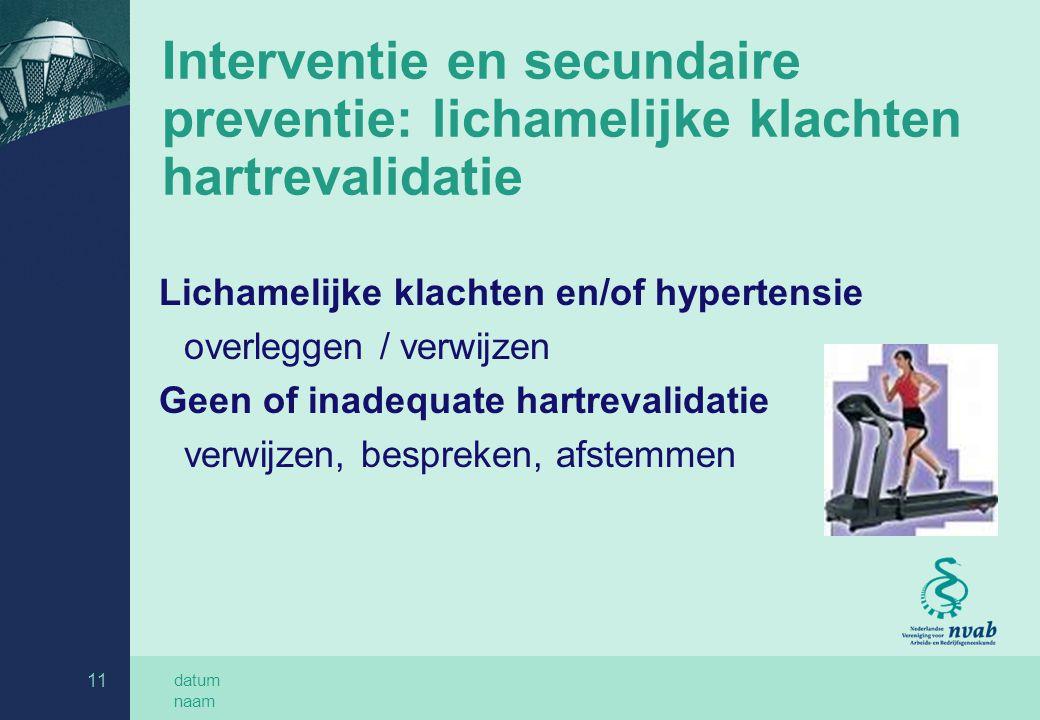 Interventie en secundaire preventie: lichamelijke klachten hartrevalidatie