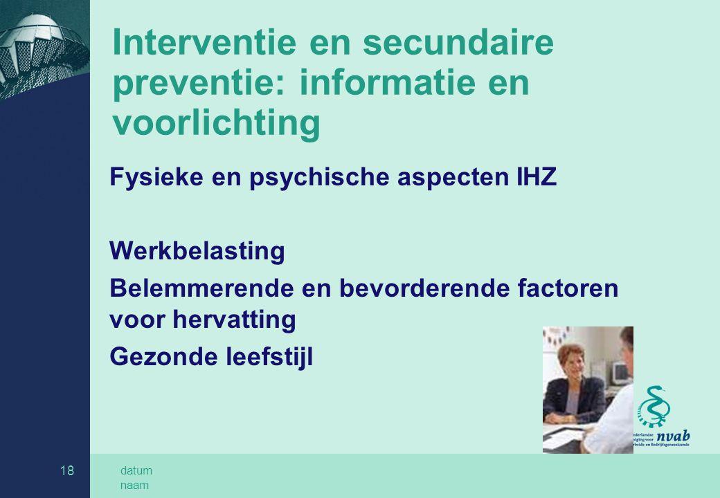 Interventie en secundaire preventie: informatie en voorlichting