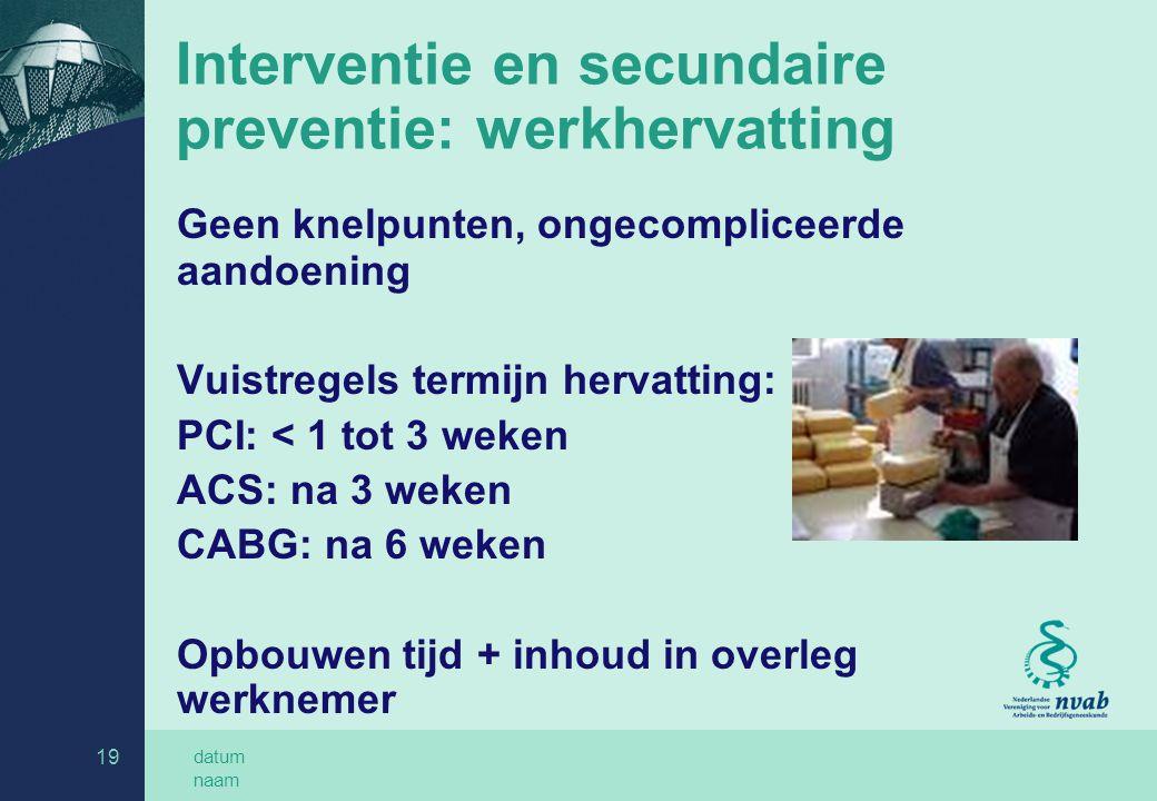 Interventie en secundaire preventie: werkhervatting