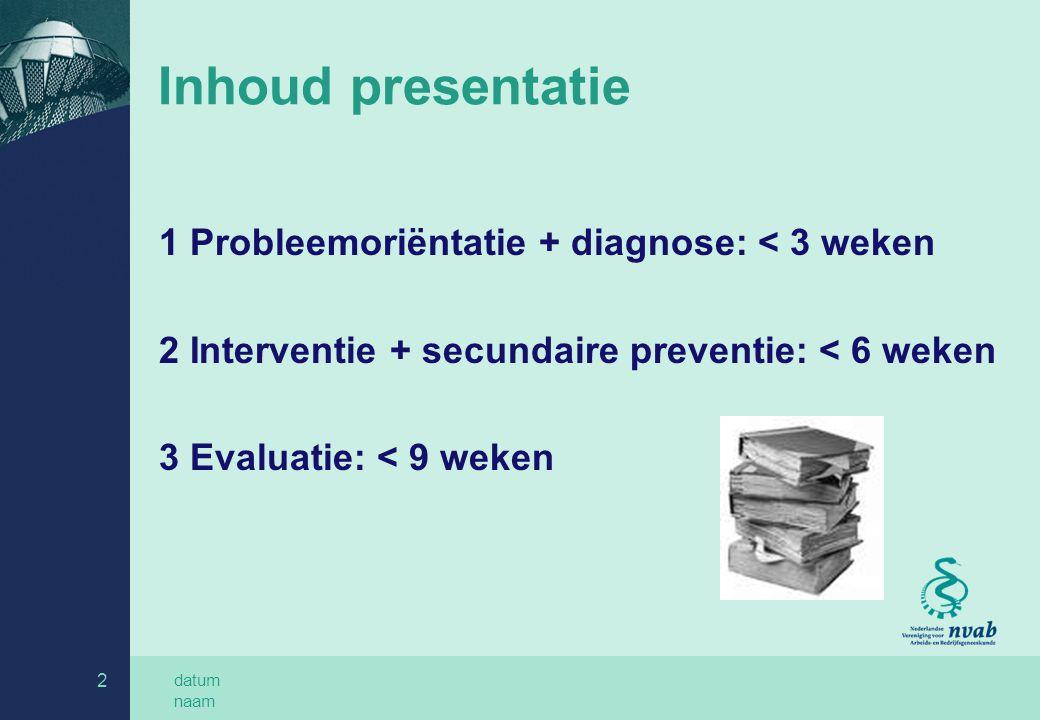 Inhoud presentatie 1 Probleemoriëntatie + diagnose: < 3 weken