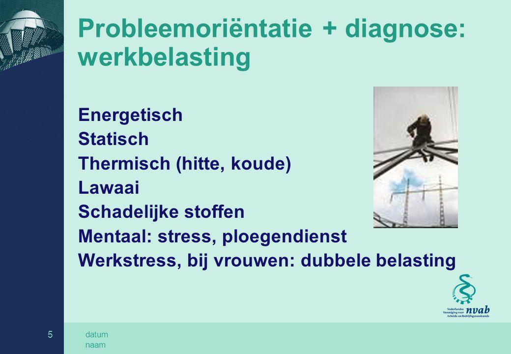 Probleemoriëntatie + diagnose: werkbelasting