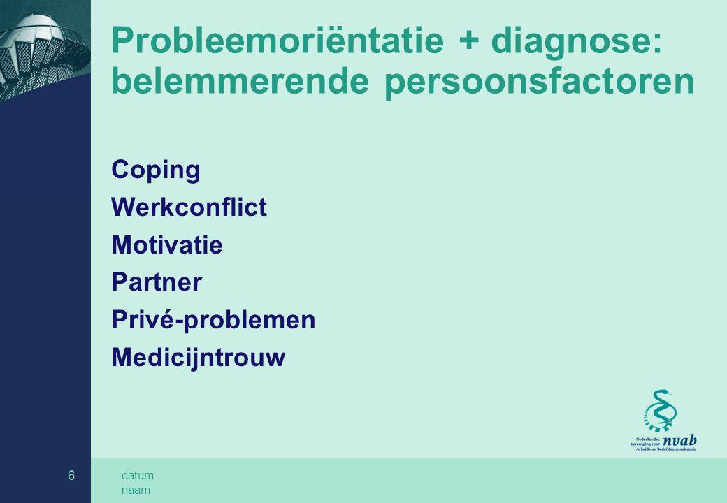 Probleemoriëntatie + diagnose: belemmerende persoonsfactoren