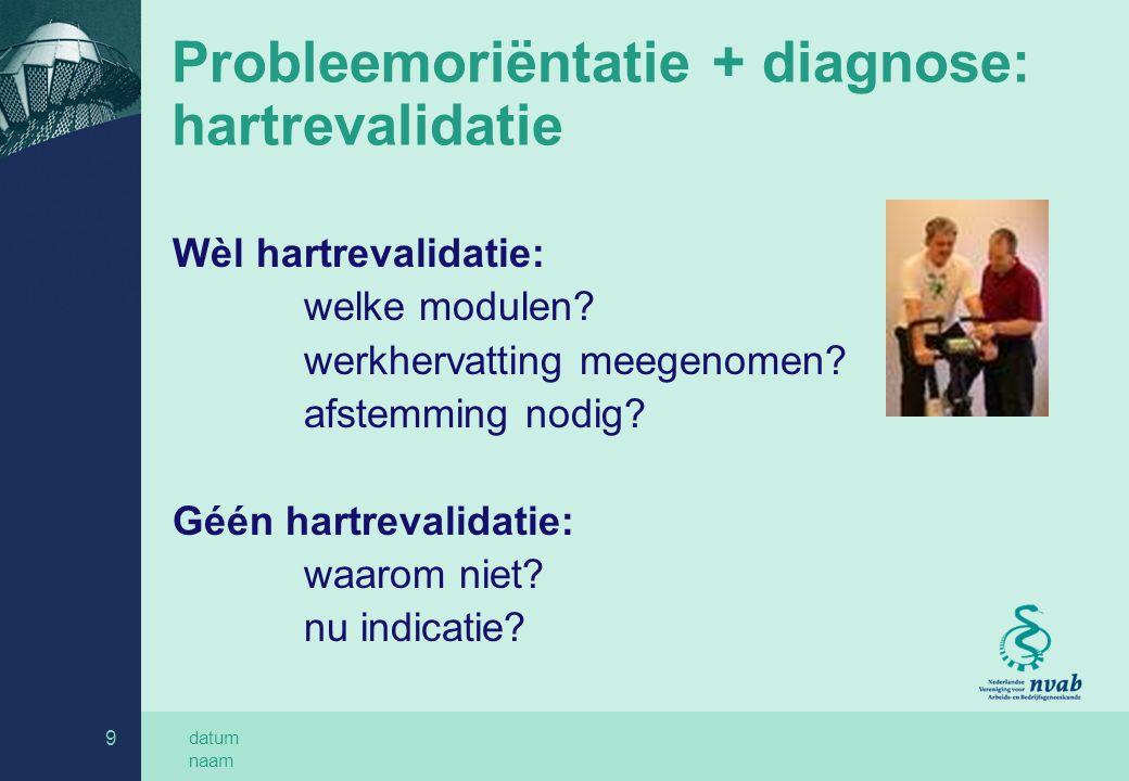 Probleemoriëntatie + diagnose: hartrevalidatie