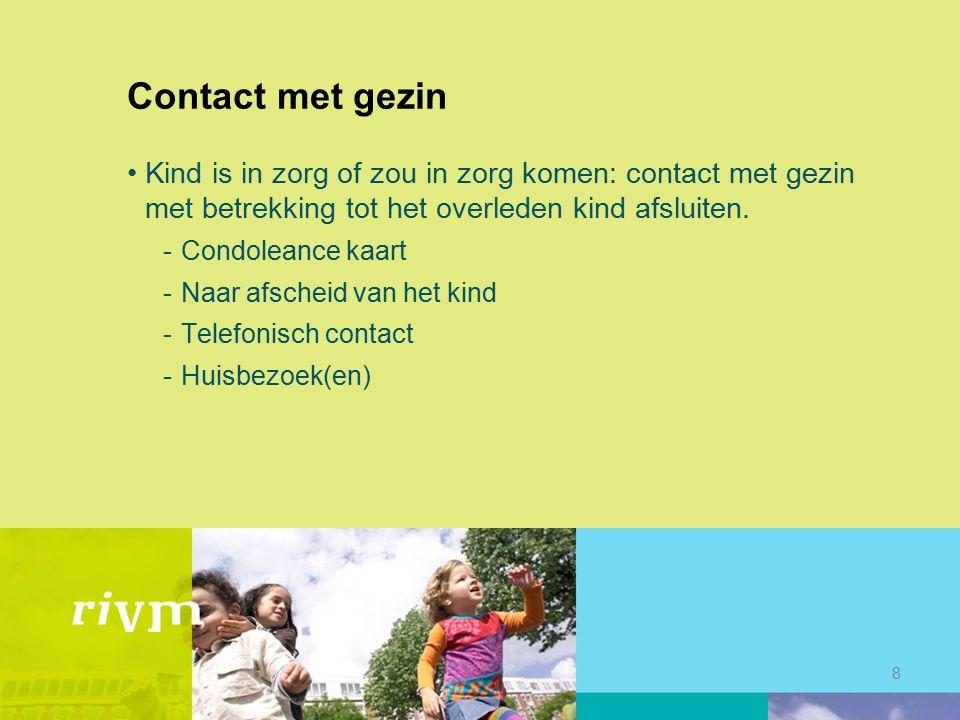 Contact met gezin Kind is in zorg of zou in zorg komen: contact met gezin met betrekking tot het overleden kind afsluiten.