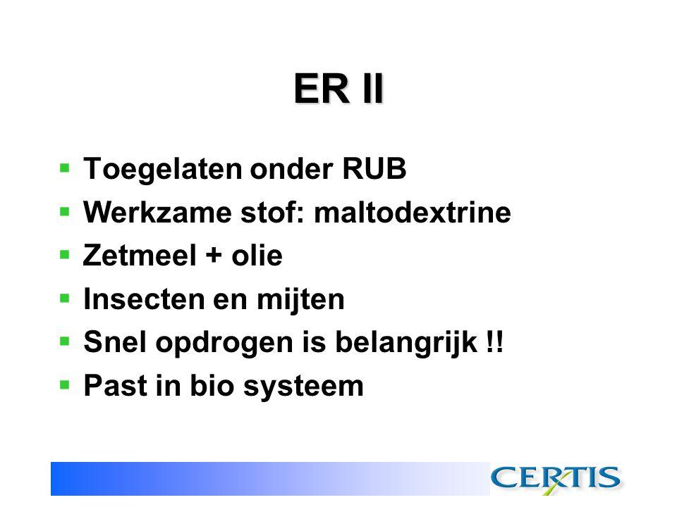 ER II Toegelaten onder RUB Werkzame stof: maltodextrine Zetmeel + olie
