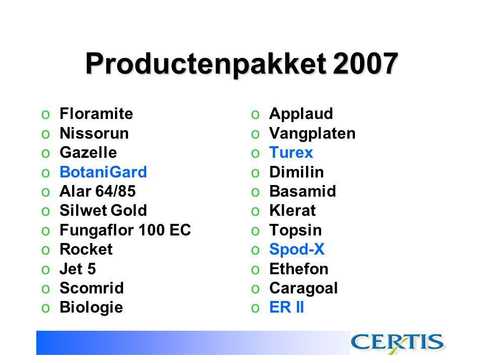 Productenpakket 2007 Floramite Nissorun Gazelle BotaniGard Alar 64/85