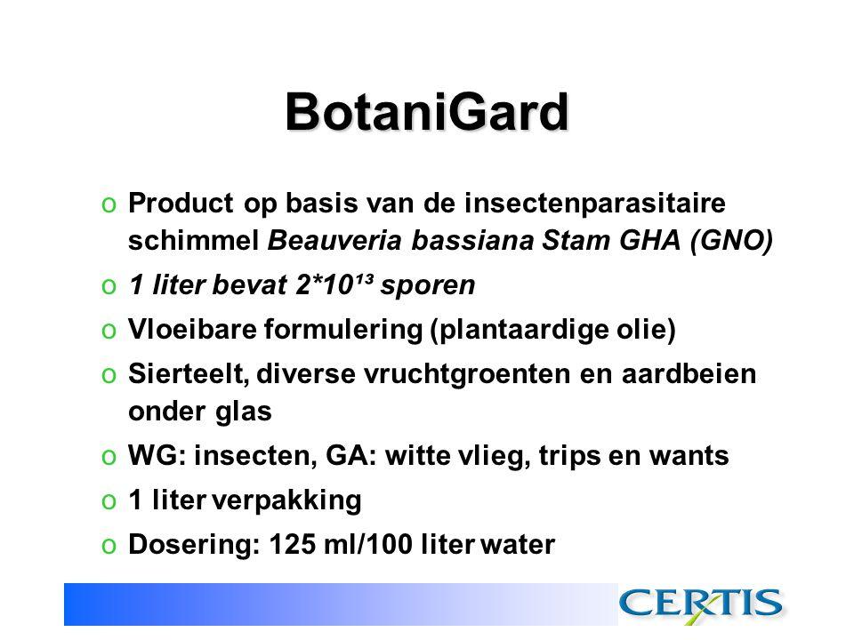 BotaniGard Product op basis van de insectenparasitaire schimmel Beauveria bassiana Stam GHA (GNO) 1 liter bevat 2*10¹³ sporen.