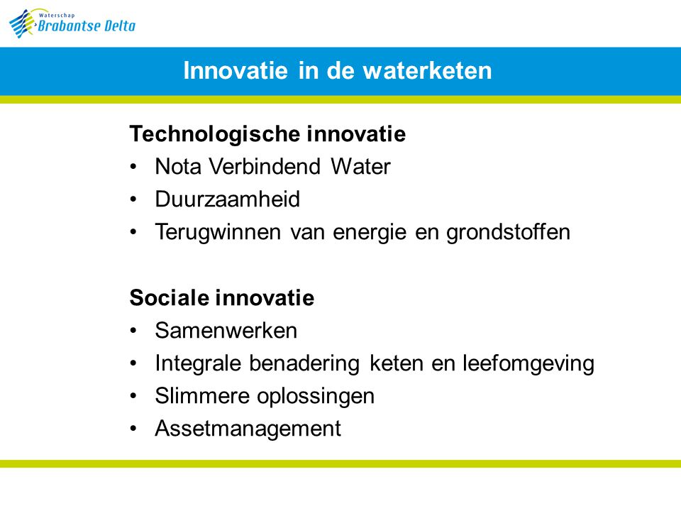Innovatie in de waterketen