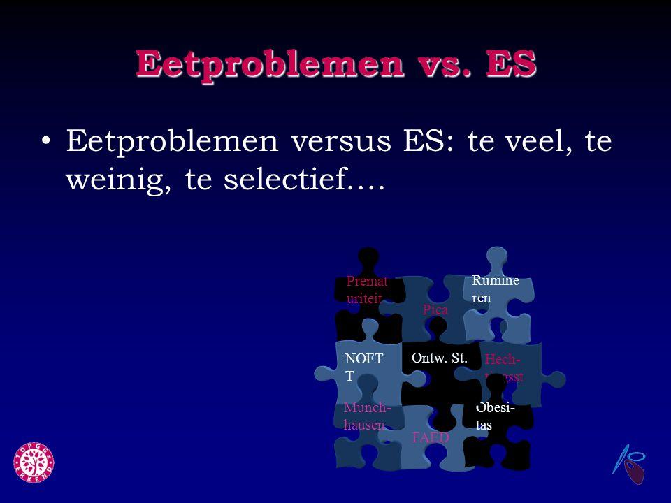 Eetproblemen vs. ES Eetproblemen versus ES: te veel, te weinig, te selectief…. Prematuriteit. Rumineren.