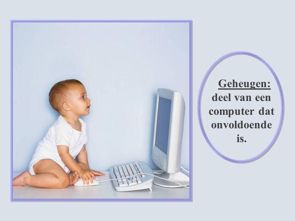 Geheugen: deel van een computer dat onvoldoende is.
