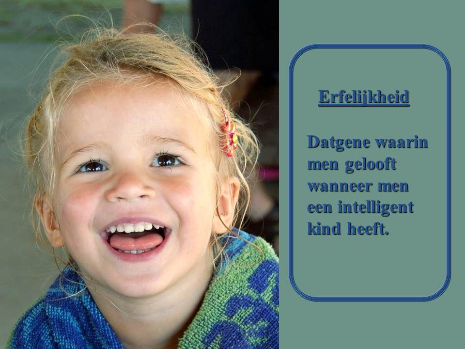 Erfelijkheid Datgene waarin men gelooft wanneer men een intelligent kind heeft.