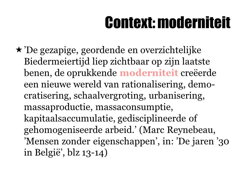 Context: moderniteit