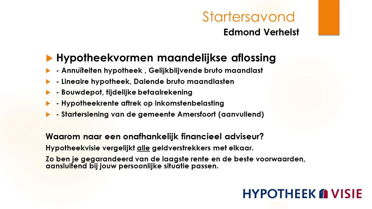 Edmond Verhelst Startersavond Hypotheekvormen maandelijkse aflossing