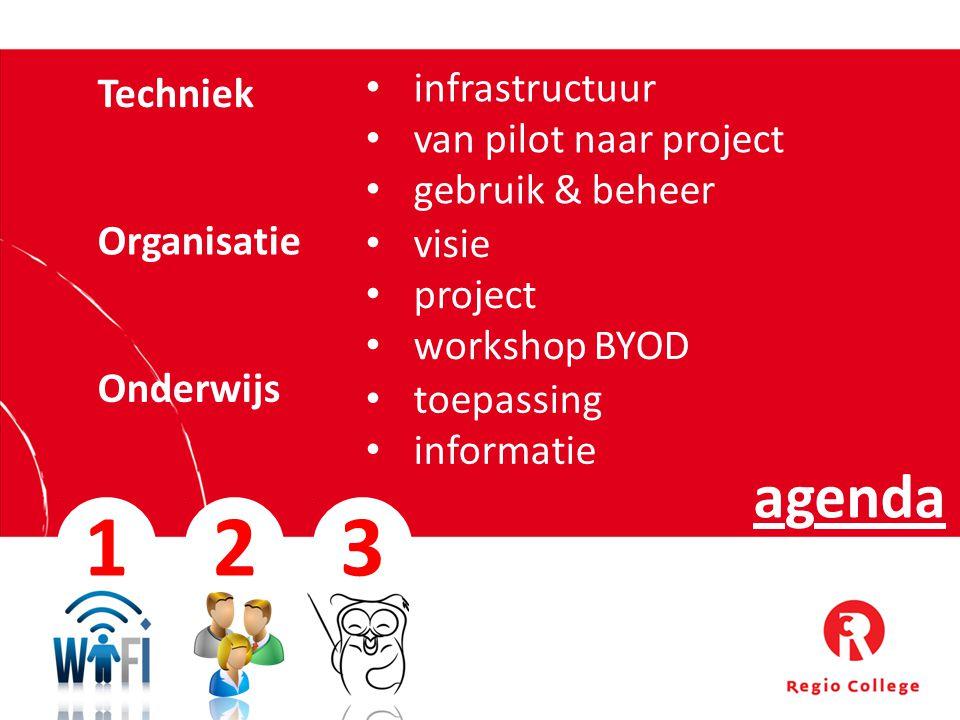 1 2 3 agenda infrastructuur Techniek van pilot naar project