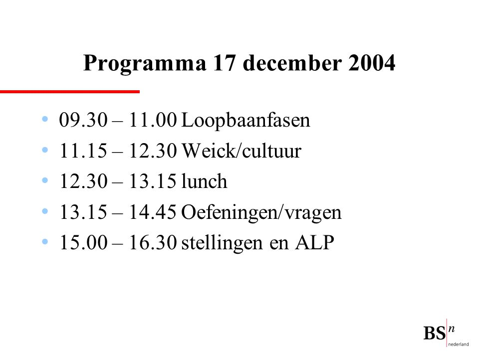 Programma 17 december 2004 09.30 – 11.00 Loopbaanfasen